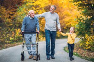 three generations walking