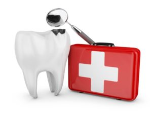 decayed tooth with first aid kit