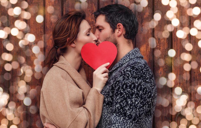 Couple kissing on Valentine's Day